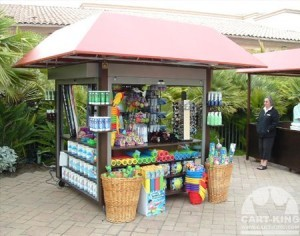 Pool Retail Display Kiosk with Canopy