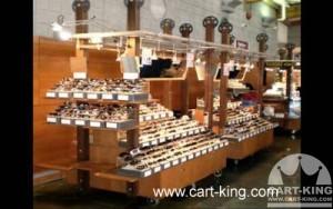 mobile display shelving cart with lighting