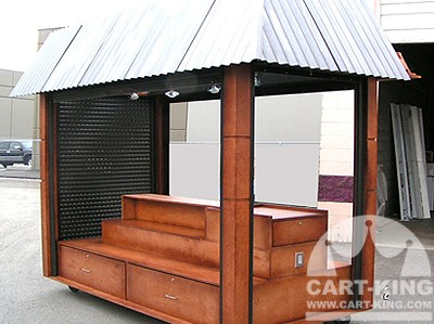 outdoor kiosk with closing shutters