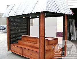 wood outdoor kiosk with locking shutters